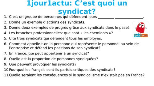 1jour1actu - C'est quoi un syndicat?