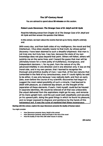Twelve Jekyll and Hyde Extract Based essay Questions