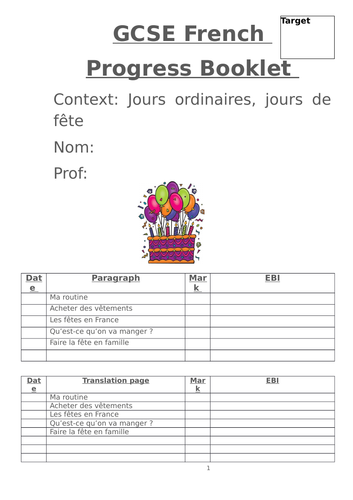 GCSE Jours ordinaires... translations and writing skills booklet
