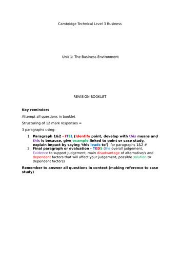 CTEC Level 3 Business unit 1: Revision booklet
