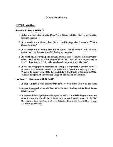 High School Kinematics Resources