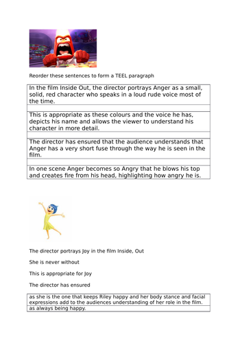 Inside out. TEEL paragraphs - Acting elements