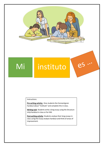 Remote learning Spanish: Connectigram,  Structure Strip and Essay analysis. School Topic