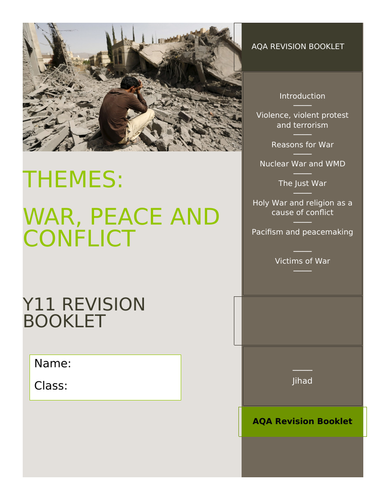 GCSE AQA RE Religion, Peace and Conflict Revision and Activity Booklet