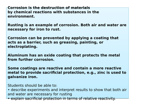 Aqa 9 1 Rusting By Laurenmates Teaching Resources Tes