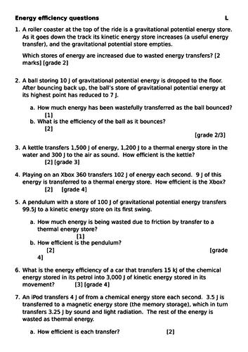 GCSE Science (1-9) Energy efficiency practise questions ...