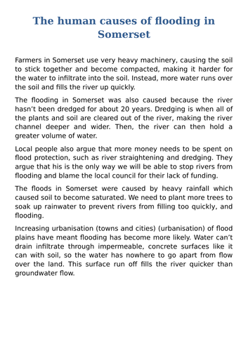 Flooding in Somerset case study lesson