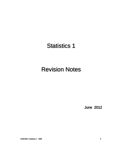 Maths A-Level: S1 Revision Notes