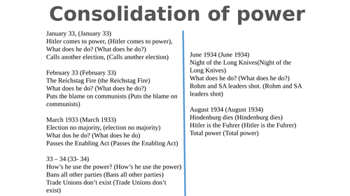 Revision: Hitler's consolidation of power - a chant