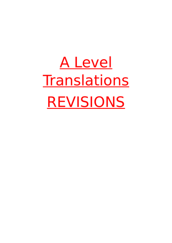 A level French - Translation revisions