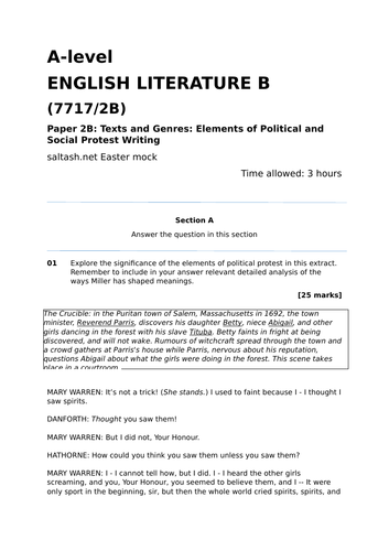 AQA A Level Literature B: Political Writing Mock Paper