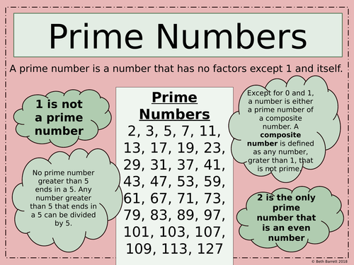 Mathematics Poster - Prime Numbers - Ideal for KS2, KS3  and KS4
