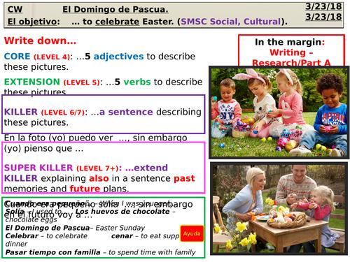El Domingo de Pascua (SMSC - Cultural) Spanish (AQA) KS3/ KS4 lesson