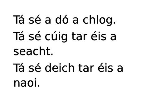 Gaeilge: an t-am, cluiche meaitseail