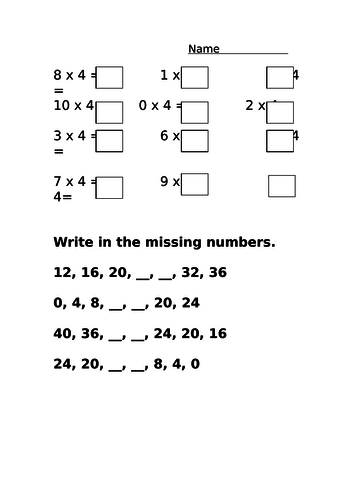 4 Times Table differentiated revision worksheet