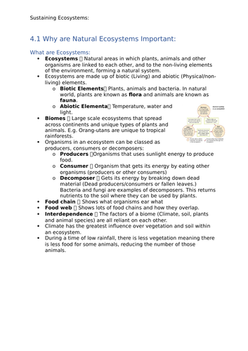 GCSE Geography OCR B - Sustaining Ecosystems Notes: