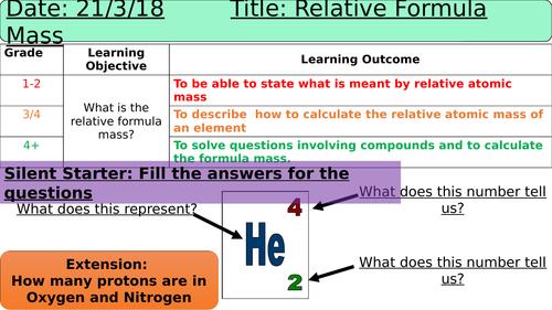 Relative Atomic + Formula Mass