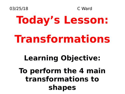 REVISION GCSE FOUNDATION TRANSFORMATIONS