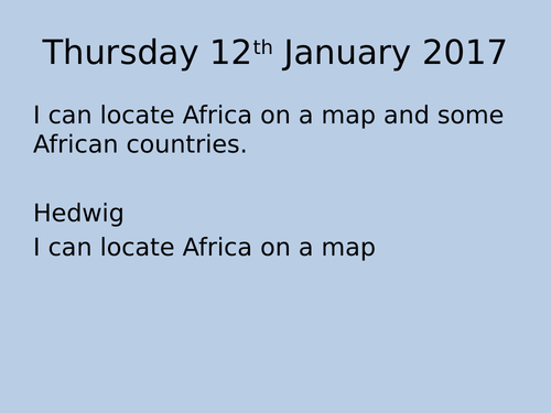 Africa Topic Plan including resources