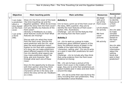 The Time Travelling Cat and the Egyptian Goddess Literacy Plan incl. Resources