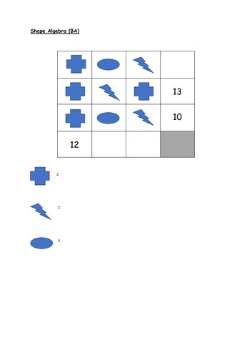 Shape Algebra Worksheets (4 levels)