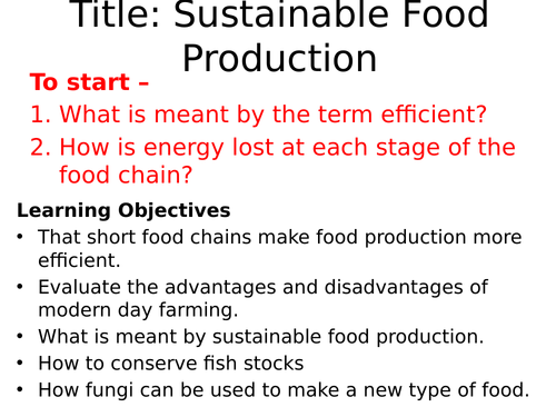 AQA Making food production efficient and sustainable