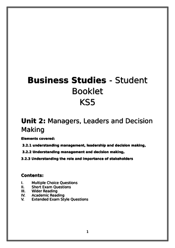 New A-Level Business: Synoptic Independent revision booklet