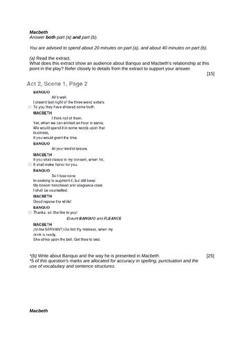 Eduqas GCSE Macbeth Practice Questions