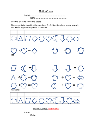 Maths Codes Worksheet