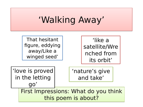 Walking Away - GCSE AQA Poetry Lesson