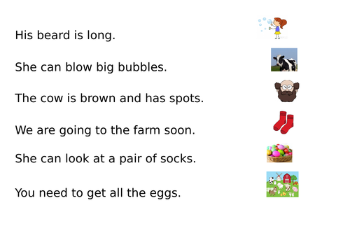 Year R - phase 3 digraphs - word and picture match up