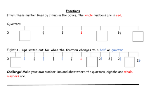 Fractions on a number line for quarters and eighths worksheets