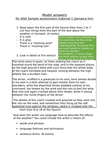 GCSE English Language Paper 1: pack of 5 sample papers and mark