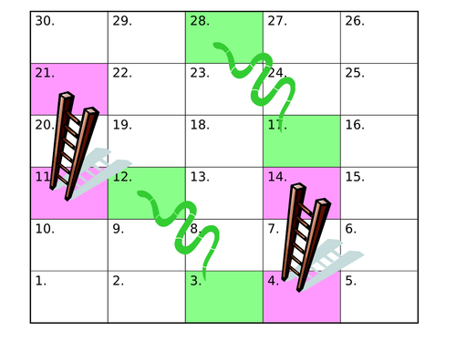 Blank snakes and ladders grid