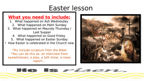EASTER TASK WHOLE LESSON - DRAMA TO RE/RS