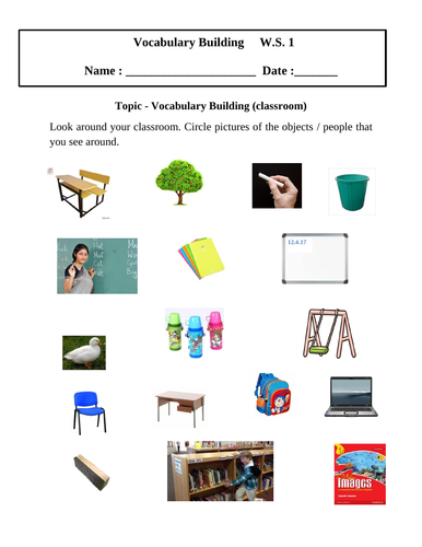 Vocabulary Building worksheets (set of 3) for grade 1 by ...