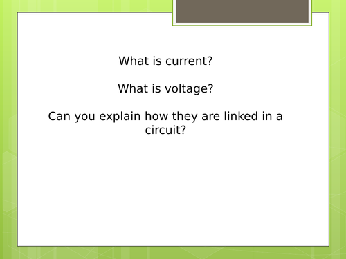 Key Stage 3 Electricity - Current Voltage Conductors & Insulators