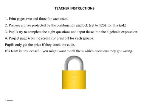 National 5 Maths Padlock Challenge