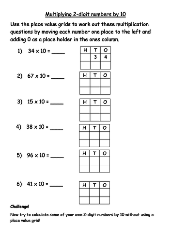 Multiplying two-digit numbers by 10 differentiated worksheets