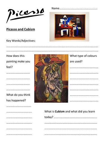 Picasso Cubism Question Worksheet