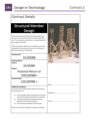STEM Team Bridge Project - Contracts for bridge elements for purchase by teams.