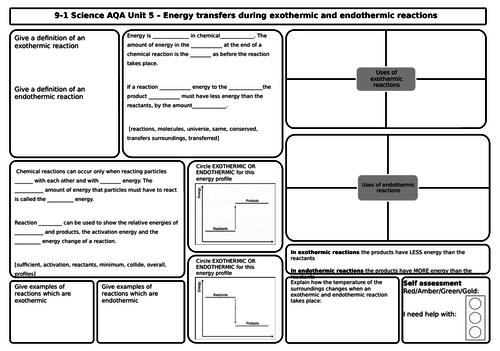 AQA Chemistry Revision Mats/Grids FOUNDATION Unit 5 & 6 Energy, Rates, Collisions,  Equilibrium,