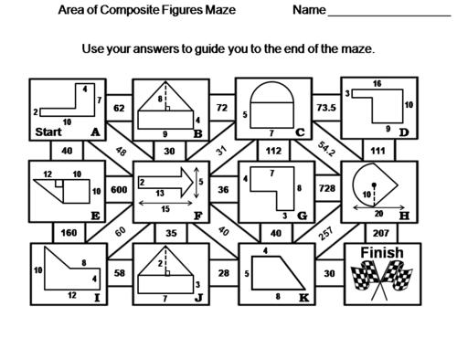Area of Composite Figures Activity: Math Maze