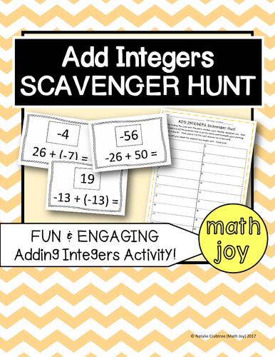 Add Integers Scavenger Hunt