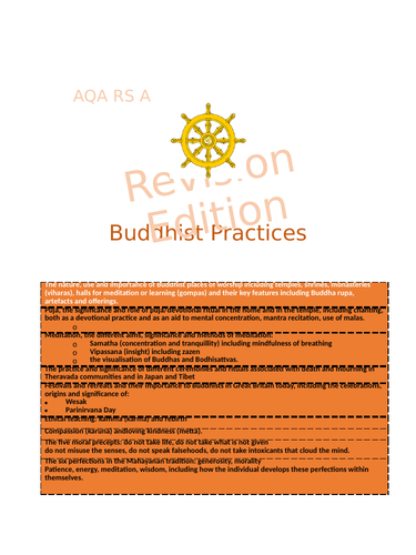 AQA RS A - Buddhist Practices Revision Guide