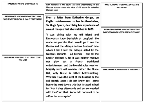 English Revolution Primary Source Template