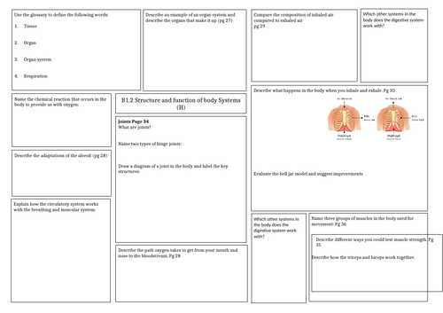 Revision mat: Activate 1 - Biology structure and function of body systems