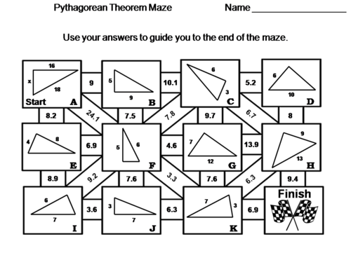Pythagorean Theorem Activity: Math Maze