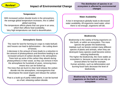 Ecology Topic 7 Part 2 Active Revision Card Activities for New AQA Biology GCSE