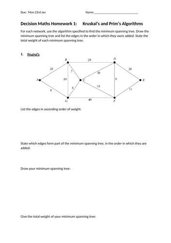 High school graphs and networks resources decision maths homework sheets ccuart Choice Image